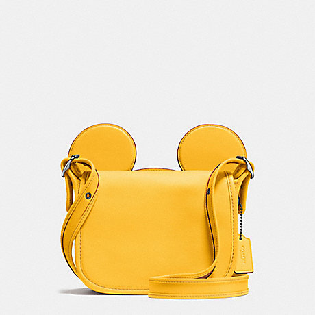 COACH f59369 PATRICIA SADDLE IN GLOVE CALF LEATHER WITH MICKEY EARS BLACK ANTIQUE NICKEL/BANANA