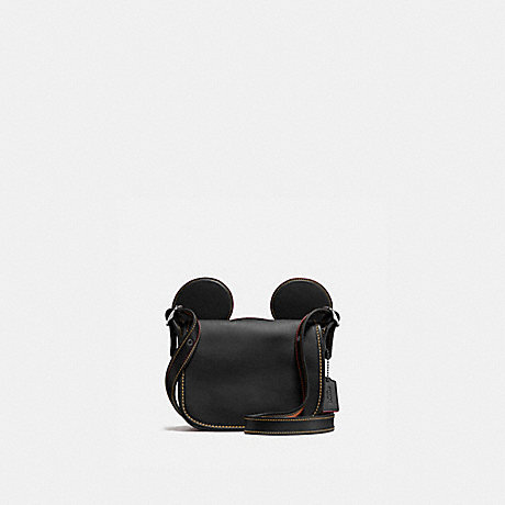 COACH f59369 PATRICIA SADDLE IN GLOVE CALF LEATHER WITH MICKEY EARS ANTIQUE NICKEL/BLACK