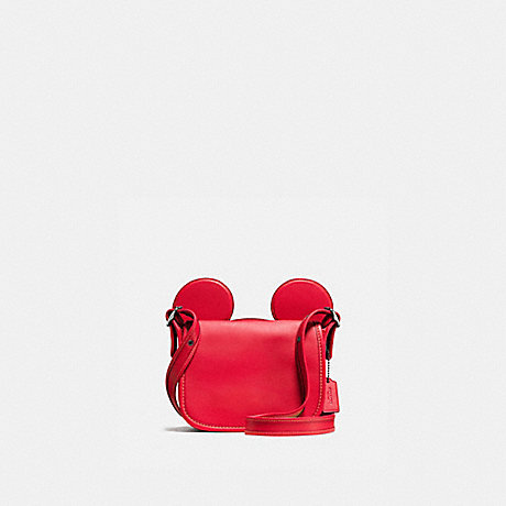 COACH f59369 PATRICIA SADDLE IN GLOVE CALF LEATHER WITH MICKEY EARS BLACK ANTIQUE NICKEL/BRIGHT RED