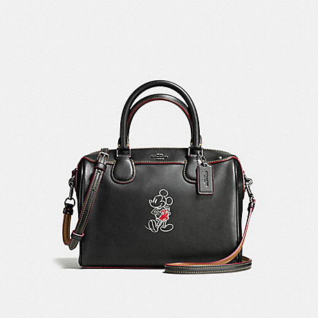 COACH f59371 MINI BENNETT SATCHEL IN GLOVE CALF LEATHER WITH MICKEY ANTIQUE NICKEL/BLACK