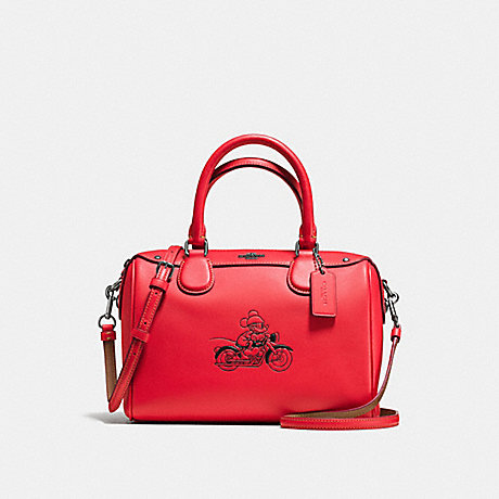 COACH F59371 MINI BENNETT SATCHEL WITH MICKEY BLACK-ANTIQUE-NICKEL/BRIGHT-RED