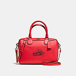 MINI BENNETT SATCHEL WITH MICKEY - f59371 - BLACK ANTIQUE NICKEL/BRIGHT RED