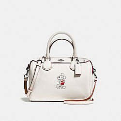 MINI BENNETT SATCHEL IN GLOVE CALF LEATHER WITH MICKEY - f59371 - BLACK ANTIQUE NICKEL/CHALK