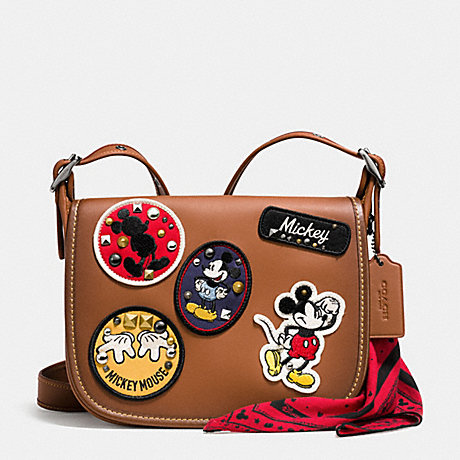 COACH f59373 PATRICIA SADDLE 23 IN GLOVE CALF LEATHER WITH MICKEY PATCHES QB/Saddle Multi