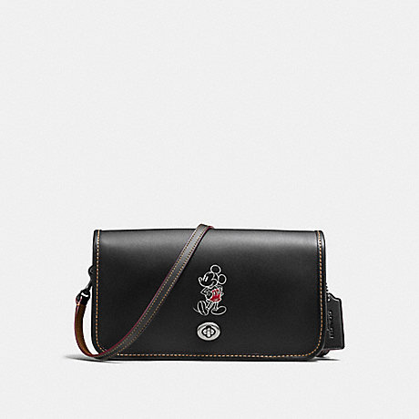 COACH f59374 PENNY CROSSBODY IN GLOVE CALF LEATHER WITH MICKEY ANTIQUE NICKEL/BLACK