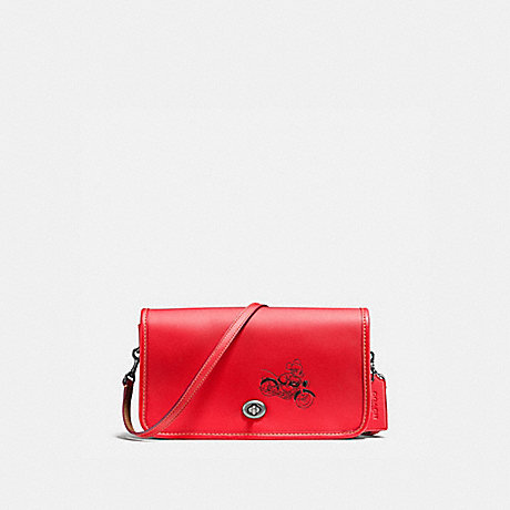 COACH f59374 PENNY CROSSBODY IN GLOVE CALF LEATHER WITH MICKEY BLACK ANTIQUE NICKEL/BRIGHT RED