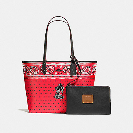 COACH f59376 REVERSIBLE TOTE IN PRAIRIE BANDANA PRINT WITH MICKEY QB/Bright Red Black