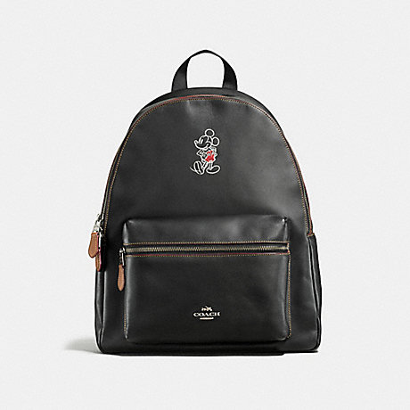 COACH f59378 CHARLIE BACKPACK IN GLOVE CALF LEATHER WITH MICKEY ANTIQUE NICKEL/BLACK
