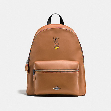 COACH F59378 CHARLIE BACKPACK WITH MICKEY ANTIQUE-NICKEL/SADDLE