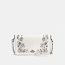 COACH FOLDOVER CROSSBODY CLUTCH WITH TEA ROSE DETAIL - CHALK/DARK GUNMETAL - F59382