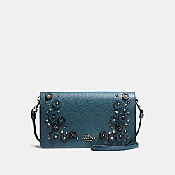 COACH FOLDOVER CROSSBODY CLUTCH WITH TEA ROSE DETAIL - MINERAL/DARK GUNMETAL - F59382