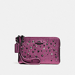 COACH F59386 Small Wristlet With Star Rivets MATTE BLACK/METALLIC MAUVE