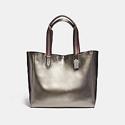 LARGE DERBY TOTE IN METALLIC PEBBLE LEATHER - f59388 - ANTIQUE NICKEL/GUNMETAL
