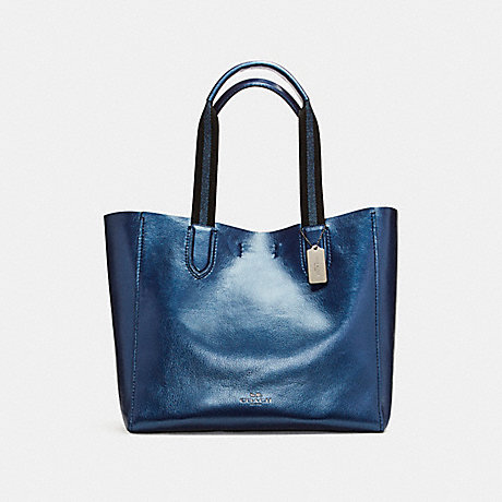 COACH f59388 LARGE DERBY TOTE IN METALLIC PEBBLE LEATHER BLACK ANTIQUE  NICKEL METALLIC NAVY 46328b3190a49