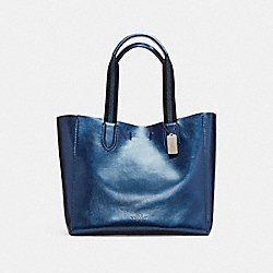 LARGE DERBY TOTE IN METALLIC PEBBLE LEATHER - f59388 - BLACK ANTIQUE NICKEL/METALLIC NAVY