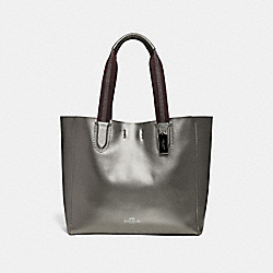 LARGE DERBY TOTE - F59388 - GUNMETAL/SILVER