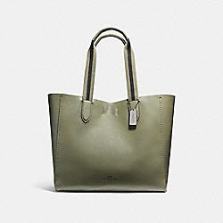 LARGE DERBY TOTE IN PEBBLE LEATHER WITH FLORAL PRINTED INTERIOR - f59392 - BLACK ANTIQUE NICKEL/MILITARY GREEN