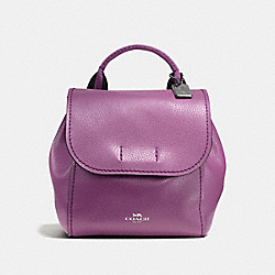 COACH F59401 Derby Backpack In Pebble Leather With Stripe Webbing BLACK ANTIQUE NICKEL/MAUVE