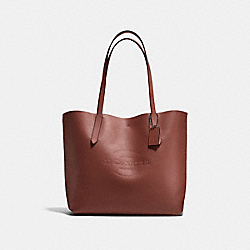 HUDSON TOTE IN NATURAL SMOOTH LEATHER - f59403 - BLACK ANTIQUE NICKEL/DARK SADDLE