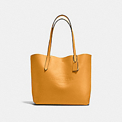 HUDSON TOTE IN NATURAL SMOOTH LEATHER - f59403 - BLACK ANTIQUE NICKEL/MUSTARD