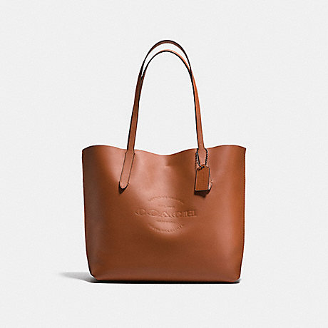 COACH HUDSON TOTE IN NATURAL SMOOTH LEATHER - ANTIQUE NICKEL/SADDLE - f59403