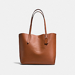 HUDSON TOTE IN NATURAL SMOOTH LEATHER - f59403 - ANTIQUE NICKEL/SADDLE