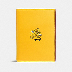 COACH F59411 Passport Case In Glove Calf Leather With Mickey BANANA