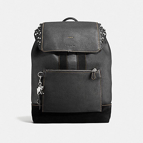 COACH F59416 MANHATTAN BACKPACK WITH STUDS<br>蔻驰曼哈顿背包有钉 黑暗镍