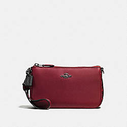 COACH F59432 Nolita Wristlet 19 With Snakeskin Detail CHERRY/DARK GUNMETAL