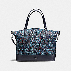 SATCHEL IN RANCH FLORAL PRINT NYLON - f59433 - BLACK ANTIQUE NICKEL/MIST