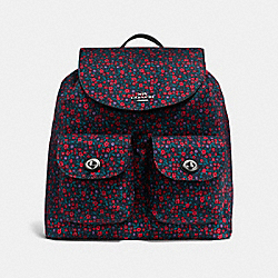 BACKPACK IN RANCH FLORAL PRINT NYLON - f59434 - BLACK ANTIQUE NICKEL/BRIGHT RED