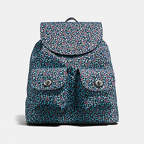 BACKPACK IN RANCH FLORAL PRINT NYLON - COACH F59434 - BLACK ANTIQUE NICKEL/MIST
