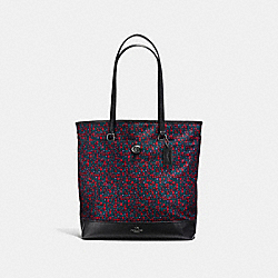 TOTE IN RANCH FLORAL PRINT NYLON - f59435 - BLACK ANTIQUE NICKEL/BRIGHT RED