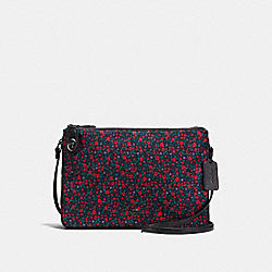 CROSSBODY IN RANCH FLORAL PRINT NYLON - f59436 - BLACK ANTIQUE NICKEL/BRIGHT RED
