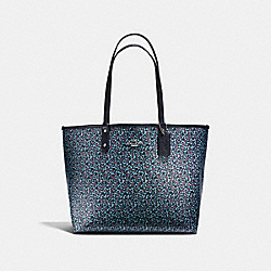REVERSIBLE CITY TOTE IN RANCH FLORAL PRINT COATED CANVAS - f59441 - SILVER/MIST