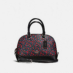 MINI SIERRA SATCHEL IN RANCH FLORAL PRINT COATED CANVAS - f59443 - SILVER/BRIGHT RED