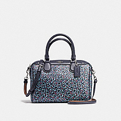 MINI BENNETT SATCHEL IN RANCH FLORAL PRINT COATED CANVAS - f59445 - SILVER/MIST