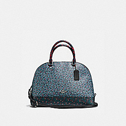 SIERRA SATCHEL IN RANCH FLORAL PRINT MIX COATED CANVAS - f59447 - SILVER/MULTI