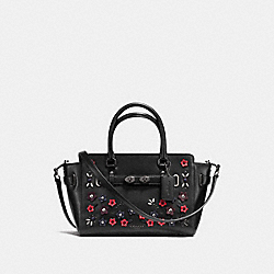 BLAKE CARRYALL 25 IN NATURAL REFINED LEATHER WITH FLORAL APPLIQUE - f59450 - ANTIQUE NICKEL/BLACK MULTI