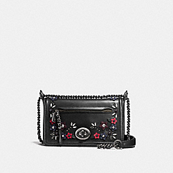 LEX SMALL FLAP CROSSBODY IN NATURAL REFINED LEATHER WITH FLORAL APPLIQUE - f59451 - ANTIQUE NICKEL/BLACK MULTI