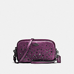 CROSSBODY CLUTCH WITH STAR RIVETS - f59452 - MATTE BLACK/METALLIC MAUVE