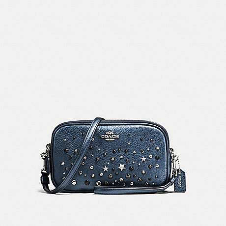 COACH f59452 CROSSBODY CLUTCH WITH STAR RIVETS SILVER/METALLIC BLUE