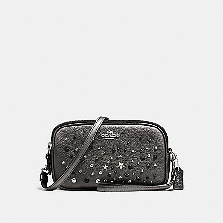 COACH f59452 CROSSBODY CLUTCH WITH STAR RIVETS SILVER/METALLIC GRAPHITE