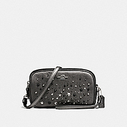 CROSSBODY CLUTCH WITH STAR RIVETS - f59452 - SILVER/METALLIC GRAPHITE