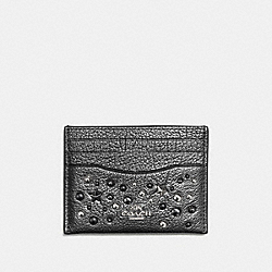 COACH F59453 Card Case With Star Rivets SILVER/METALLIC GRAPHITE