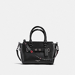 MINI BLAKE CARRYALL IN NATURAL REFINED LEATHER WITH FLORAL APPLIQUE STRAP - f59454 - ANTIQUE NICKEL/BLACK