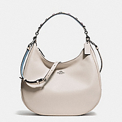 COACH F59455 Harley Hobo In Natural Refined Leather With Floral Applique Strap BLACK ANTIQUE NICKEL/CHALK