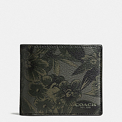 3-IN-1 WALLET IN FLORAL HAWAIIAN PRINT COATED CANVAS - f59469 - GREEN HAWAIIAN FLORAL