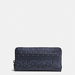COACH F59478 Accordion Wallet In Prairie Bandana Print Coated Canavas MIDNIGHT NAVY