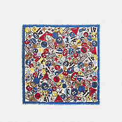 COACH F59488 Mickey Multipatches Square Scarf MULTICOLOR